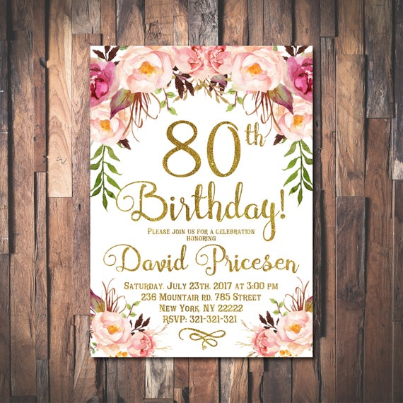 80th Birthday Invitation For Women 80th Birthday Invitation Etsy