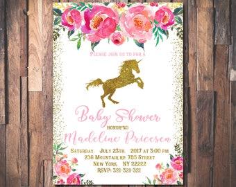 Unicorn Baby Shower Invitations, Oh Baby Shower Invitation. Floral Glitter Baby Shower. Pink & Gold Baby Shower Invitations 1021