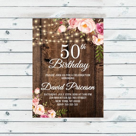 50 Geburtstags Einladung Boho Blumen Geburtstagseinladung Etsy