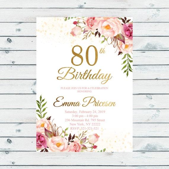 80th Birthday Invitation for women 80th Birthday Invitation | Etsy