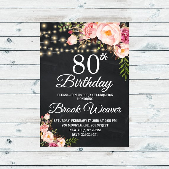80th Birthday Invitation For Women Party Any