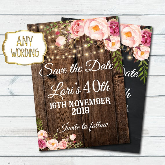 Save The Date Birthday Party Invitation Women Birthday Party Save The Date Card Any Age Women Birthday Floral Invite 50th 60th 70th 1088