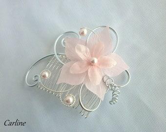 Hair comb pink pale bridal flower silk - Cole-
