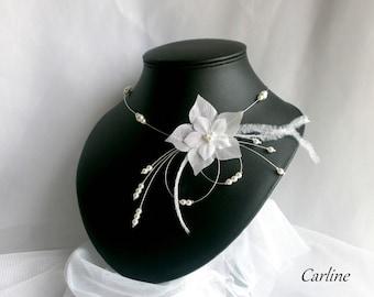 White silk flower wedding necklace feathers beads - Jude.