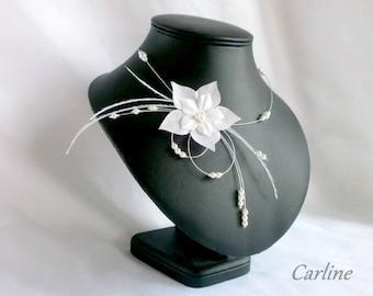 Wedding white silk flower Swarovski Crystal beads necklace strand - Jude feathers.