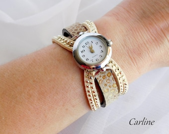 Shows woman leather and suede rhinestone Beige taupe adjustable