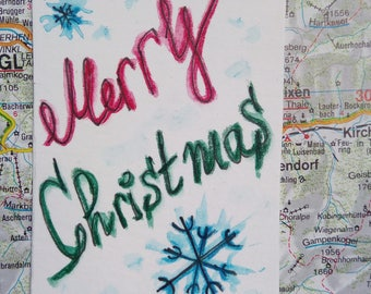 Christmas card,Original watercolor painting,mini art cute, original artwork miniature painting,tiny aquarelle,Ideal for Christmas,mini card