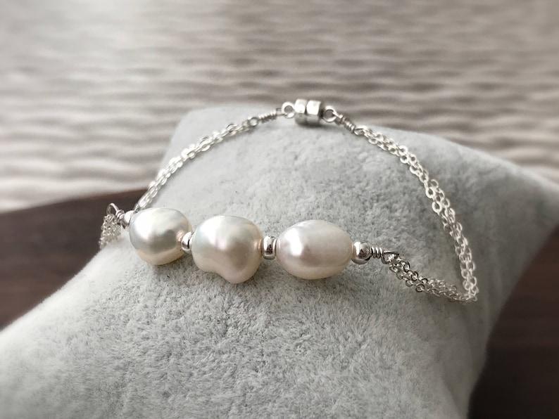 Three Pearl Bracelet Pearl Bracelet Wedding Bracelet Sterling Silver 925 white pearl Freshwater pearl bracelet