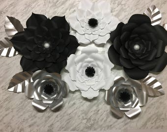 Black Silver Large Paper Flowers - Set of 6 flowers - Decorations for Bridal Shower, Wedding, Special Event backdrop or Home Decor