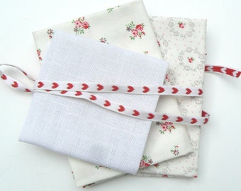 3 cut cotton fabric and linen white small flowers red roses