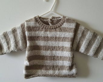 Striped sweater Brown and beige mottled baby boy