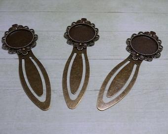 Bookmark antique bronze flower ring 20mm