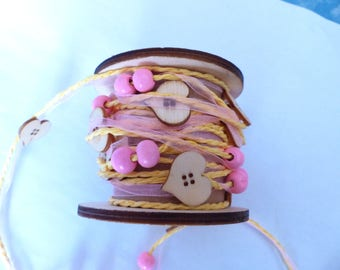 Garland with hearts and wooden beads