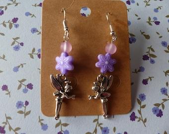 Girls fairy Bell and purple flower earrings