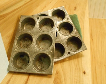 Two Small Muffin Tins/1940s Muffin Tins/Old Cupcake Pans/Old Cornbread Pans/Old Tins for Projects/Old Tins for Decoration