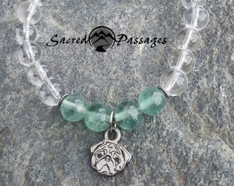 Gemstone Pug Bracelet. Clear quartz and fluorite with custom Pugwynde Originals pug charm.