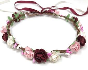 Burgundy flower crown, floral crown burgundy, wedding flower crown, flower girl crown, burgundy flower headband, bridesmaids flower crown