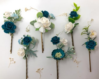 Green Turquoise Hairpiece Victorian Floral Haircomb H2031 Green Rose Side Hair Slide Teal Hair Comb Silver Pink Leaf Flower Hair Clip