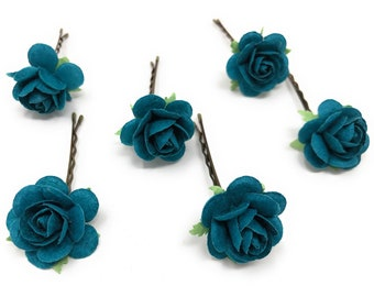 Felted Flower Pin or Barrette teal blue peacock blue