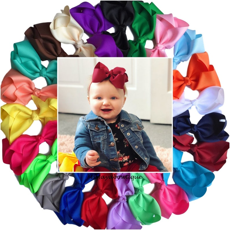 baby hair headbands accessories elastic girl removable navy bow clip