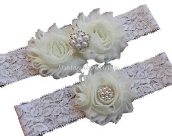 Ivory wedding garter, ivory garter set, ivory bridal garter, ivory lace garter set, rustic wedding garter set, shabby flower garter set