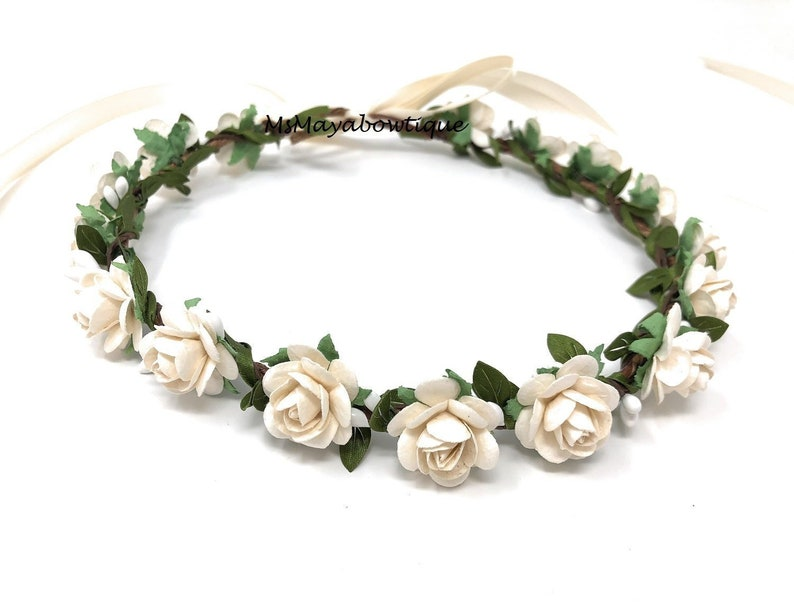 Ivory flower crown flower girl crown flower crown wedding image 0