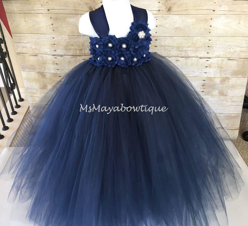 navy tille dress girls navy tulle dress Navy flower girl dress flower girl dress tutu dress flower girls flower girl dress navy