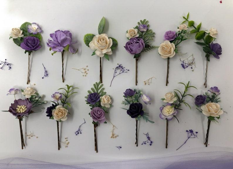 3 x Lavender Flower Hair Pins Bridal Bridesmaid Clip Artificial Purple Set 1442