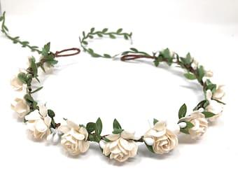 Ivory flower crown, flower girl crown, flower crown wedding, ivory flower girl headband, flower wreath for hair, bridesmaid flower crown