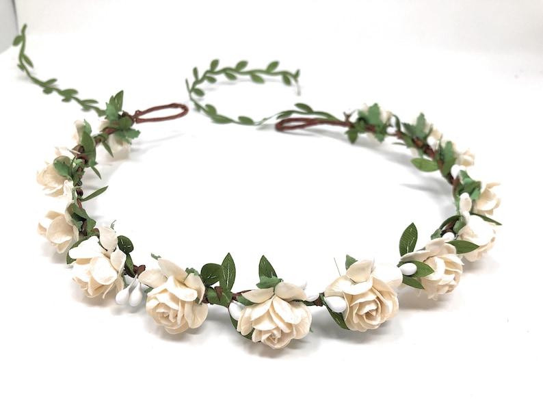 Ivory flower crown flower girl crown flower crown wedding image 0