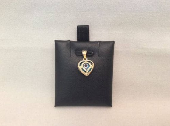 Men/'s//Women/'s 10k solid yellow  Real Gold EVIL EYE Heart pendant charm .50grams