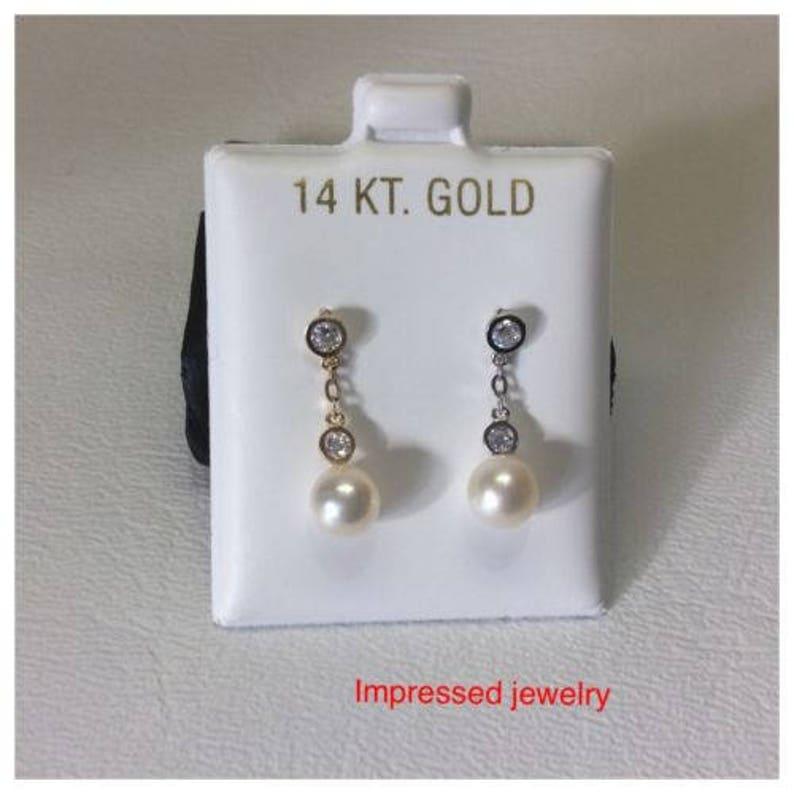 14k Real Yellow Gold Fresh Water Cultured Pearl Stud Earrings Screw Back 6mm