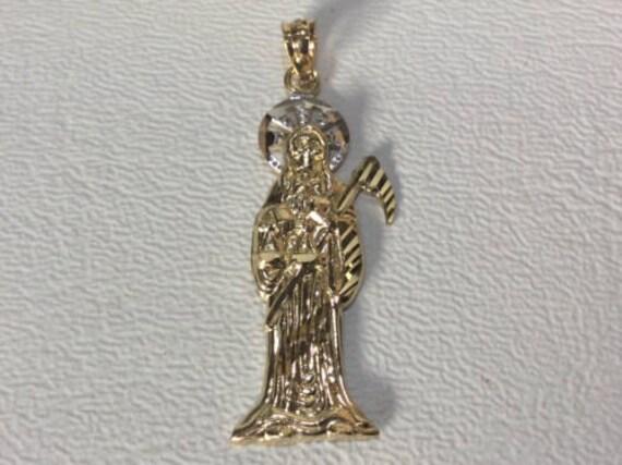 1.5 inch 14k solid  yellow Gold santa muerte grim reaper pendant angel of death
