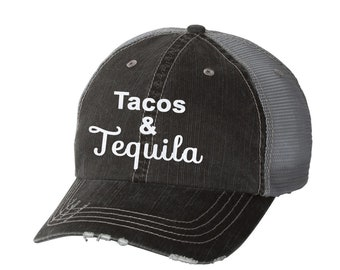27925212802b2 Tacos   Tequila Distressed Ladies Baseball Hat