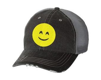 83caa7f89b8 Smile Emoji Distressed Ladies Glitter Baseball Hat