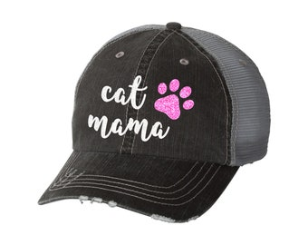 80dc636abaaaa Cat Mama Distressed Ladies Baseball Hat