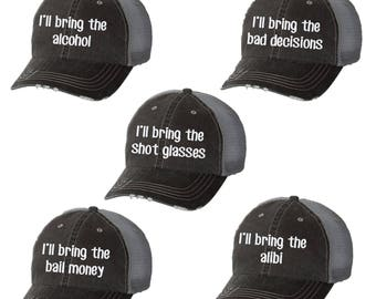 b2a97d86 I'll Bring the Alcohol Distressed Ladies Baseball Hat | Mesh | Trucker |  Funny | Girls Weekend | Drink | Wine | Beer