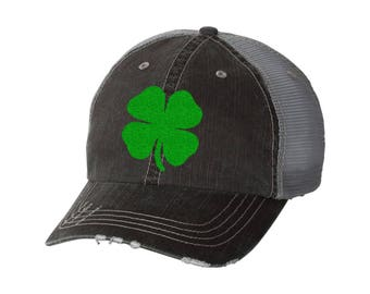ec9869eae681a1 Shamrock Distressed Ladies Glitter Baseball Hat | Mesh | Trucker | Irish |  St Patrick's Day | St Patty's Day | Four Leaf Clover
