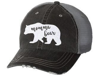 f7e00713f74867 Momma Bear Distressed Ladies Baseball Hat | Mesh | Trucker | Mom Life | Mama