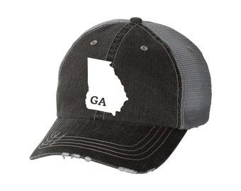 8f3c937f450 State of Georgia Distressed Unisex Baseball Hat