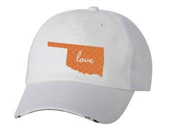 3c8c41051ad State of Oklahoma Love Distressed Ladies Baseball Hat