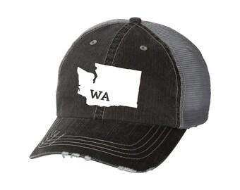 3caf33a93e5e6 State of Washington Distressed Unisex Baseball Hat