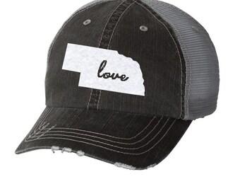 94432bb2a9c State of Nebraska Love Distressed Ladies Baseball Hat