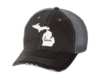 9809722dd51 State of Michigan Love Distressed Ladies Baseball Hat