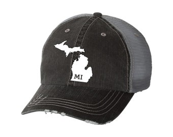 16b5a58ce1d State of Michigan Distressed Unisex Baseball Hat | Mesh | Trucker | State  Pride | Home | MI
