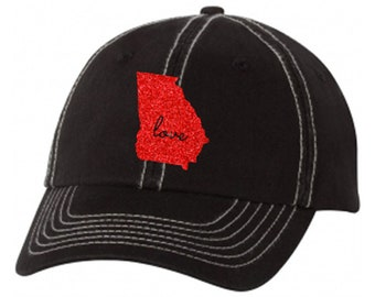 State of Georgia Love Ladies Stitched Baseball Hat | State Pride | Home | GA