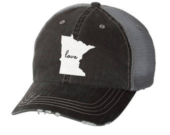 State of Minnesota Love Distressed Ladies Baseball Hat | Mesh | Trucker | State Pride | Home | MN | love