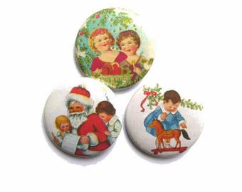 3 badges 37 mm Christmas decor, shabby Christmas badges, advent calendar surprise
