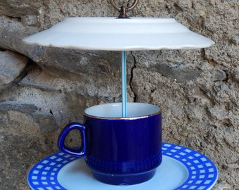 """Blue gingham"" bird feeder"