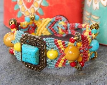 Turquoise and MookaÏte semi precious stones bracelet